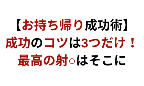【お持ち帰り成功術】成功のコツは3つだけ!最高の射○はそこにと書かれているサムネイル画像